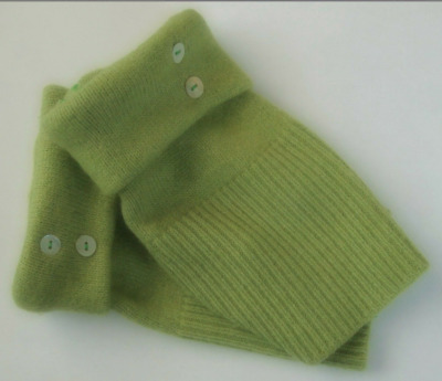 Fingerless Gloves Women's Green Merino Wool Cashmere One Size Fits Most S M L
