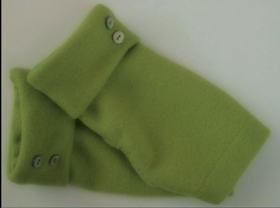 Fingerless Gloves Women's Green Lime 100% Merino Wool Size Small - Medium S  M