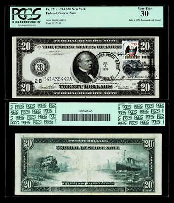 Fr. 971a $20 1914 Federal Reserve Note July 4,1976 POSTMARK & STAMP. PCGS VF 30