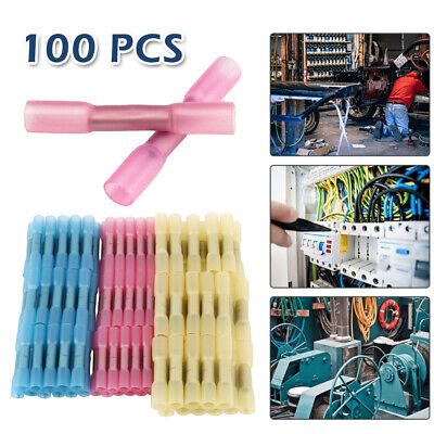 100x Heat Shrink Insulated Butt Crimp Terminals Wire Electrical Cable Connectors