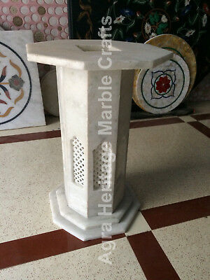 White Marble Stone Base Pedestal With Grill Work Furniture Decor