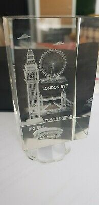 3D Laser Etched/Crystal Glass/London Skyline/Eye/Souvenir/Paperweight Ornament