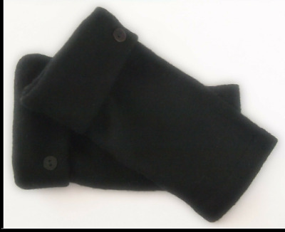 Fingerless Gloves Black Women's 100% Merino Wool Size S - M Small - Medium Text