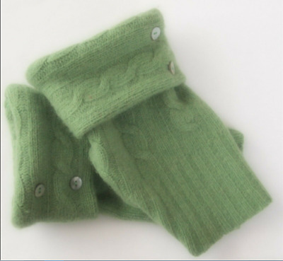 Fingerless Gloves Green Moss Angora Wool Women's One Size Fits Most S M L Text