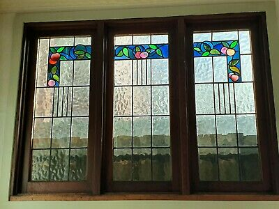 Antique Stained Glass Leadlight Windows Victorian