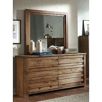 Progressive Melrose Pine Dresser and Mirror Brown 6-drawer