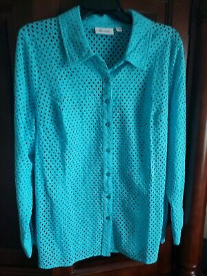 Beautiful Teal Womens Denim And Company Blouse Plus Size 1X Nwot