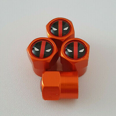 DEAPOOL metal Orange Valve Dust caps all models Lot Colours FAST DISPATCH