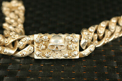 chinese big old tibetan silver hand carving skull statue bracelet noble gift