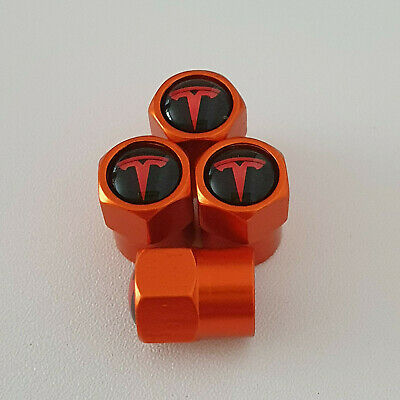 TESLA metal Orange Valve Dust caps all models Lot Colours FAST DISPATCH