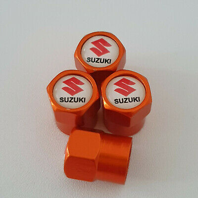 SUZUKI metal Orange Valve Dust caps all models Lot Colours FAST POST