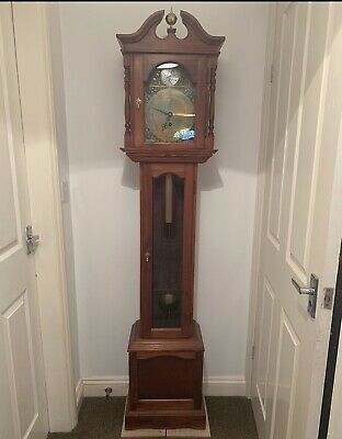 Beautiful Elegantly Antique Longcase Grandfather Clock Pendulum Post 1900 Time