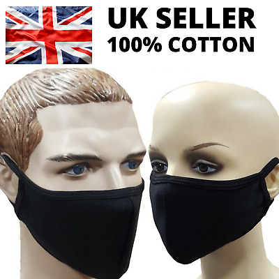 Reusable Face Mask Washable Breathable Cotton Adult Black Mouth Nose Protection