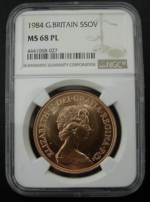 Great Britain 1984 Gold 5 Pounds NGC MS68 Proof Like