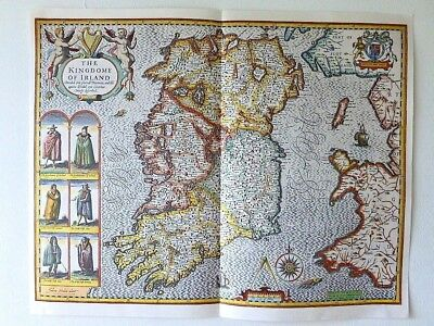 Irish Colored Poster Map (dated 1966) John Speede Kingdom Historic Ireland 1610