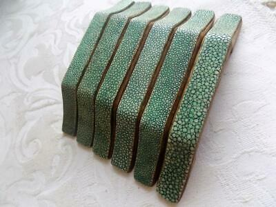 Art Deco Stunning Set Of 6 Streamline Shagreen & Oak Handles