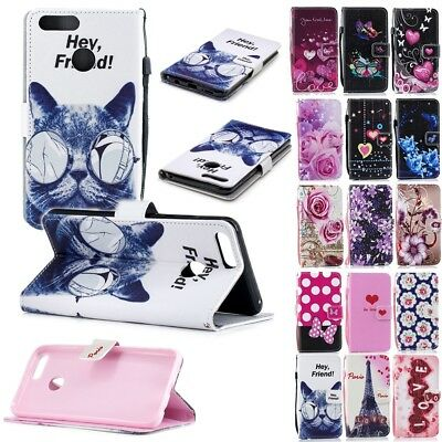 Wallet PU Leather Flip Stand Phone Case Cover Shockproof for Huawei Honor 7X