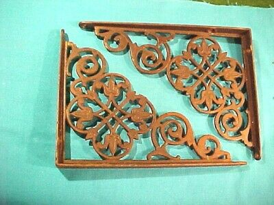 Old Antique Late 19Th Century Eastlake Style Cast Iron Wall Shelf Brackets Pair