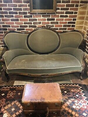Antique Rare Victorian Rosewood Rose Carved Sofa