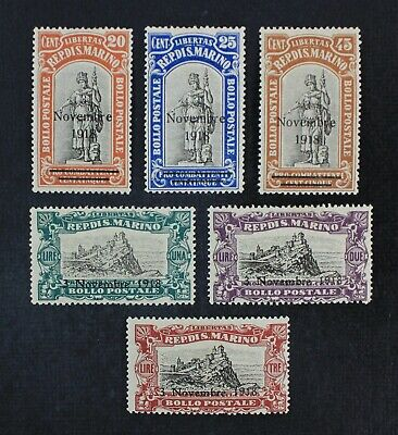 CKStamps: Italy Stamps Collection San Marino Scott#B12-B17 Mint H OG
