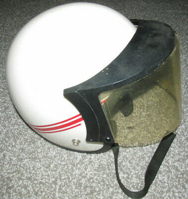 Motorcycle Helmet Norcon Tw-1   White/ Red Stripe With Visor And Shield