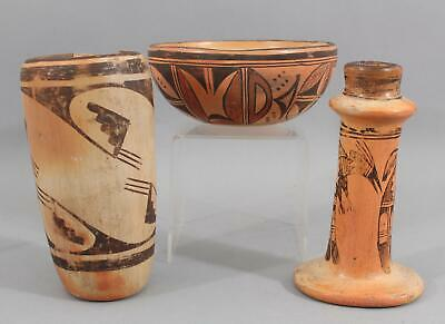 Rare Antique Early 20thC Western Acoma Indian Pottery Candlestick Bowl & Vase NR