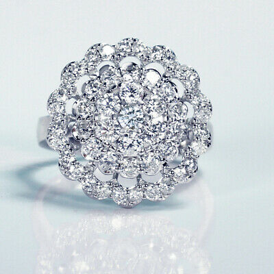 2Ct Natural Diamond 14K White Gold Cluster Ring EFFECT 5Ct RWG69