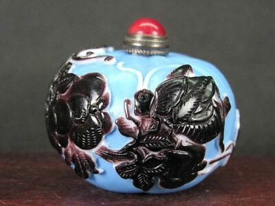 Chinese Cricket On Pumpkin Carved Peking Overlay Glass Snuff Bottle
