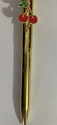 Collectables Stationary Red Cherry Clip Fruit Gold Twist Pen black Ink Gifts