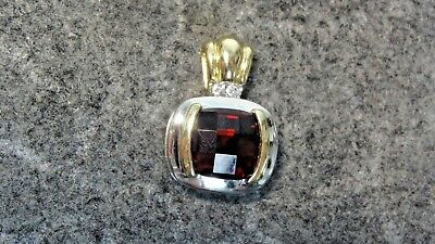 Garnet Two Tone 14k Pendant With Small Accent Diamonds