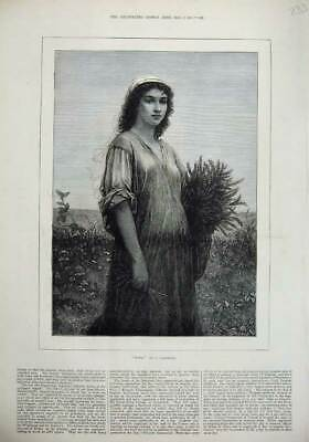 Old Antique Print 1877 Fine Art Beautiful Young Girl Ruth Country Flowers 19th
