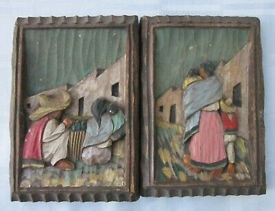 Painted Wood Carving Lot of 2 Primitive Folk Wall Art Holguin Mexican Family