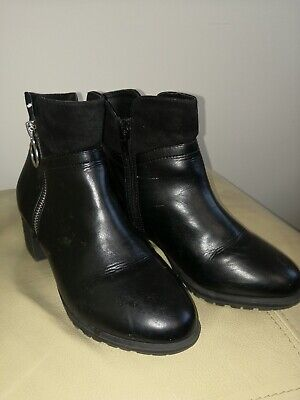 Girls RIVER ISLAND Black Leather Ankle Boots Size UK 2 EU 35