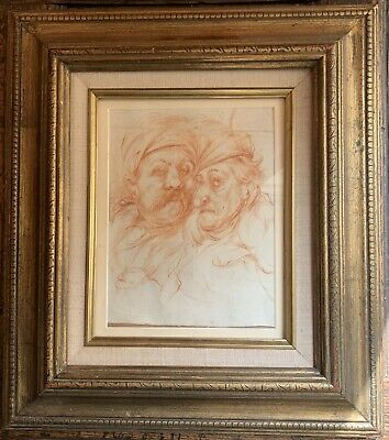 Jean Francois de Neufforge 1741-1791 red chalk drawing of two men