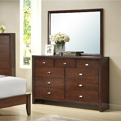 Gloria 351 Brown Cherry Finish Wood Dresser and Mirror Brown 9-drawer