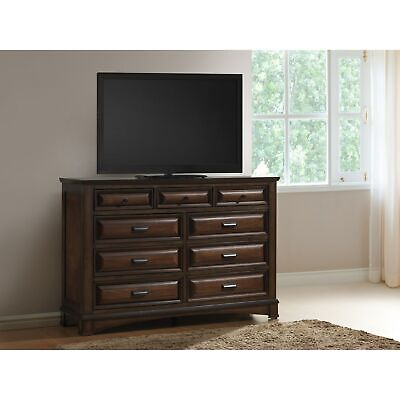 Broval Light Espresso Wood 9-Drawer Dresser Espresso 6-drawer