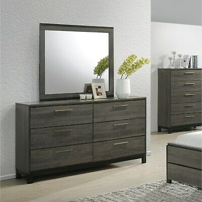 Ioana 187 Antique Grey Finish Wood Dresser and Mirror Grey 9-drawer