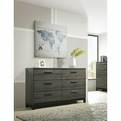 Ioana 187 Antique Grey Finish Wood 6 Drawers Dresser Grey 9-drawer