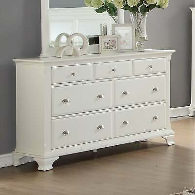 Laveno White Wood 7-Drawer Dresser White 7-drawer