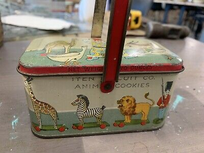 ANTIQUE 1920s Animal Cookies Rabbits TIN LITHO TINDECO CANDY PAIL VINTAGE TOY