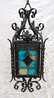"""French Lantern Wrought Iron Leaded Stained Colored Glass Large 28""""++"""