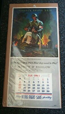 WWII US home front 1943 calendar Service Above Self patriotic St. Paul, MN NOS