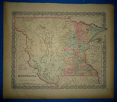 1856 Colton Atlas Map ~ NEBRASKA - MINNESOTA TERRITORY ~ Old Antique Original