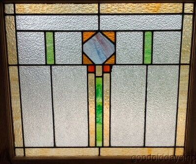 """Antique Stained Leaded Glass Window from Chicago Circa 1920 28"""" x 25"""""""