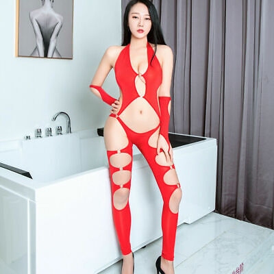 US Women Sexy Lingerie Babydoll Hollow Out Thong Leotard Bandage Bodysuit New