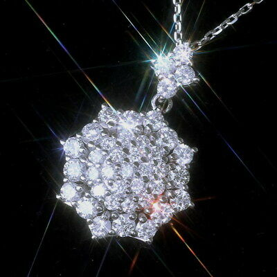 2Ct Natural Diamond 10K White Gold Cluster Necklace EFFECT 4Ct PWG49