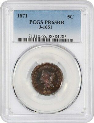 1871 Pattern 5c PCGS PR 65 RB (J-1051) Beautiful Toning - Pattern Coinage