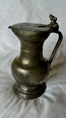 Antique William Iiii Pewter Jug With Lid - 19.9 Cm Tall