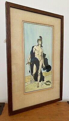 Rare Antique Art Deco Drawing Of A Roman Centurion Soldier S. Mole 1923