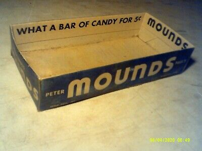 1939 Peter Paul's MOUNDS Original Candy Display Box 5 Cent 5 1/2 X 11 Inches